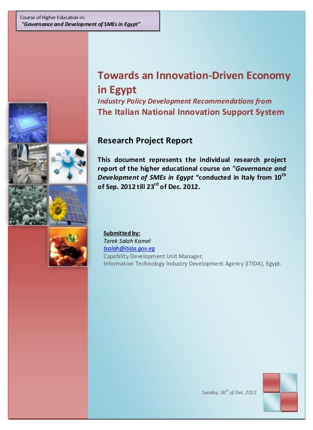"""Course of Higher Education in:""""Governance and Development of SMEs in Egypt""""                                 Towards an Inn..."""