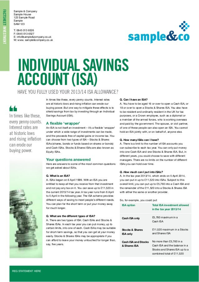 Individual savings accounts a  2013/14