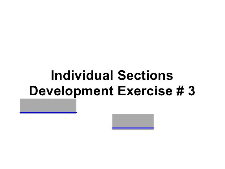 Individual Sections Development Exercise # 3