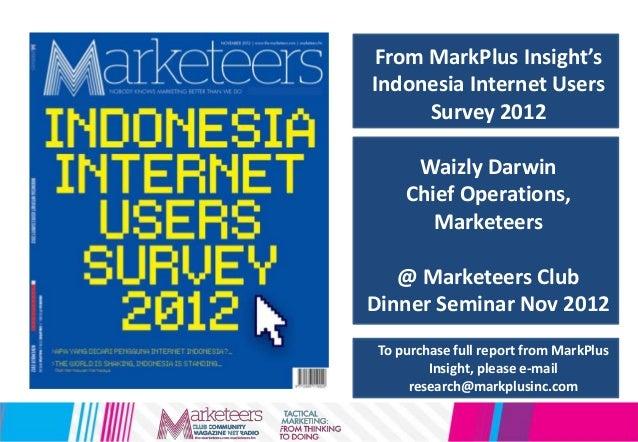 From MarkPlus Insight'sIndonesia Internet UsersSurvey 2012Waizly DarwinChief Operations,Marketeers@ Marketeers ClubDinner ...