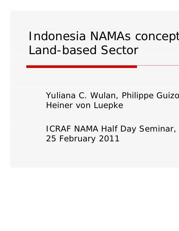 Indonesia NAMA concept:I d    i NAMAs       tLand-based Sector  Yuliana C. Wulan, Philippe Guizol,  Heiner von Luepke  ICR...