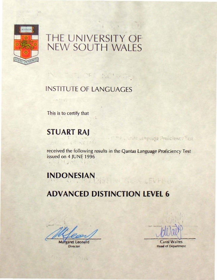 THE UNIVERSITY OF NEW SOUTH WALES                                   ,  INSTITUTE OF LANGUAGES   Th.is is to certify that  ...