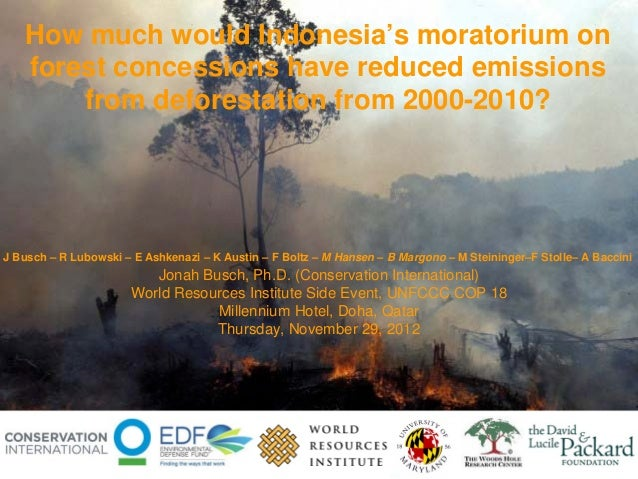 How much would Indonesia's moratorium on   forest concessions have reduced emissions       from deforestation from 2000-20...
