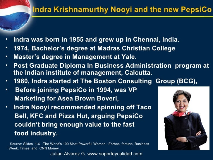 <ul><li>Indra was born in 1955 and grew up in Chennai, India. </li></ul><ul><li>1974, Bachelor's degree at Madras Christia...
