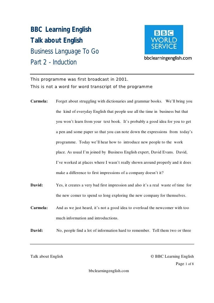 BBC Learning English Talk about English Business Language To Go Part 2 - Induction  This programme was first broadcast in ...
