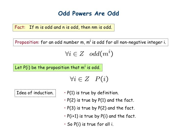 Odd Powers Are OddFact: If m is odd and n is odd, then nm is odd.Proposition: for an odd number m, mi is odd for all non-n...