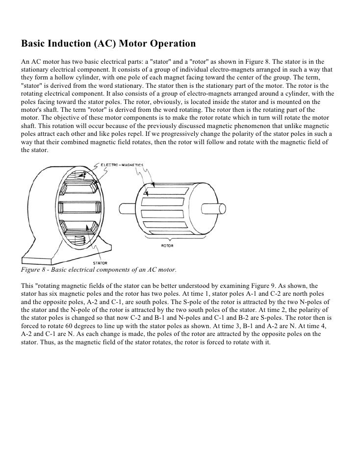 """Basic Induction (AC) Motor OperationAn AC motor has two basic electrical parts: a """"stator"""" and a """"rotor"""" as shown in Figur..."""