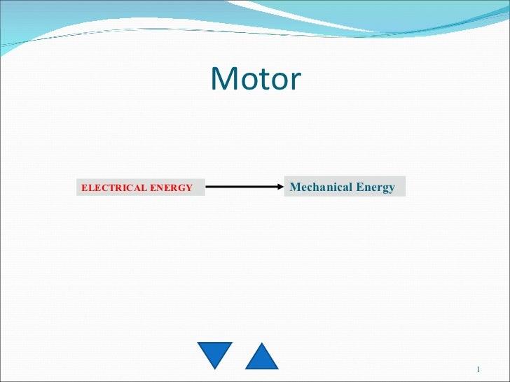 Motor ELECTRICAL ENERGY Mechanical Energy