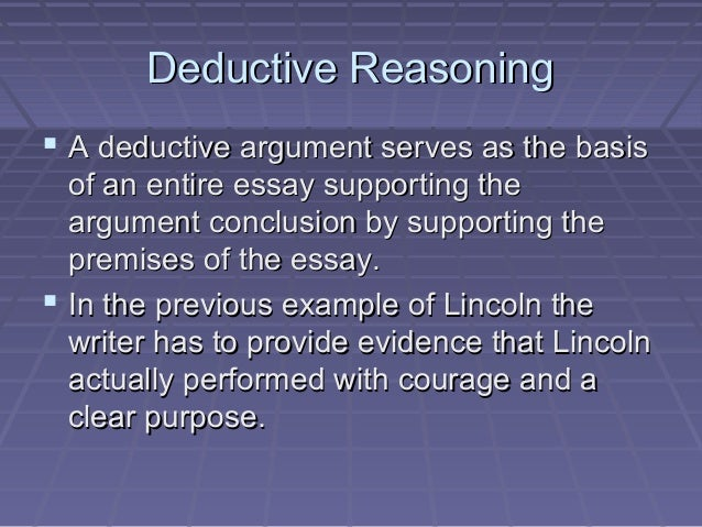 Deductive essay example