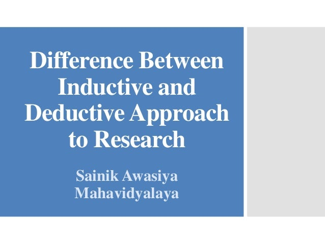 inductive and deductive method of research Week 3 deductive and inductive research (1 page) after reading dudley's and neuman's discussions regarding deductive and inductive philosophies or theories, describe a deductive research topic and an inductive research topic.