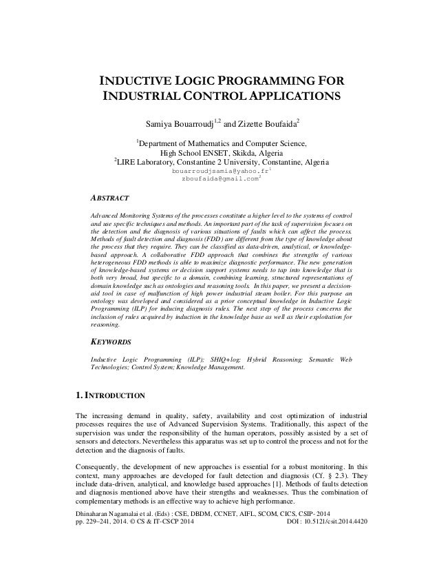INDUCTIVE LOGIC PROGRAMMING FOR INDUSTRIAL CONTROL APPLICATIONS