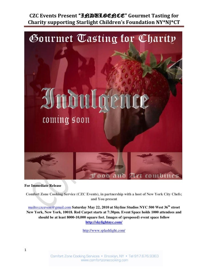 "CZC Events Present ""INDULGENCE"" Gourmet Tasting for     Charity supporting Starlight Children's Foundation NY*NJ*CT     Fo..."