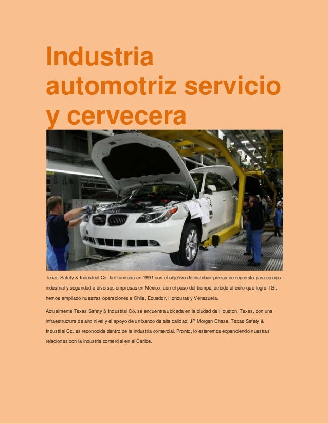 Industria automotriz servicio y cervecera jimy