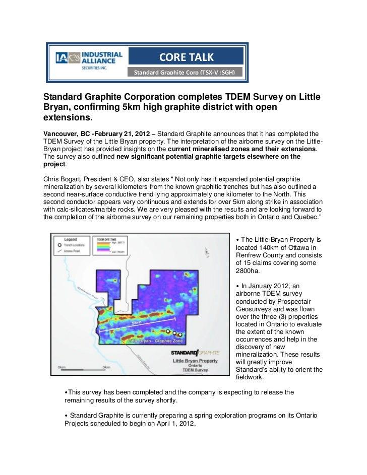 CORE TALK                               Standard Graphite Corp (TSX-V :SGH)Standard Graphite Corporation completes TDEM Su...