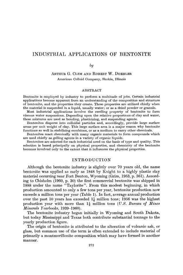 INDUSTRIAL                            APPLICATIONS                                OF        BENTONITE                     ...