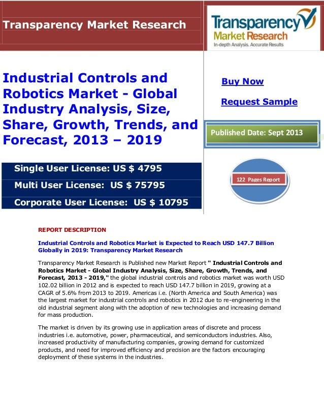 REPORT DESCRIPTION Industrial Controls and Robotics Market is Expected to Reach USD 147.7 Billion Globally in 2019: Transp...