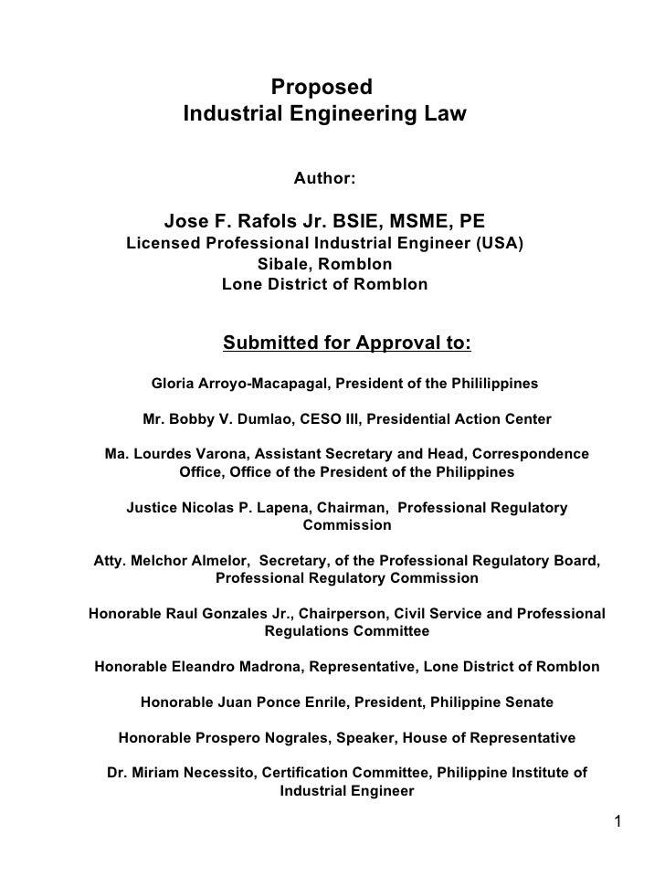 Industrial Engineering Law Act