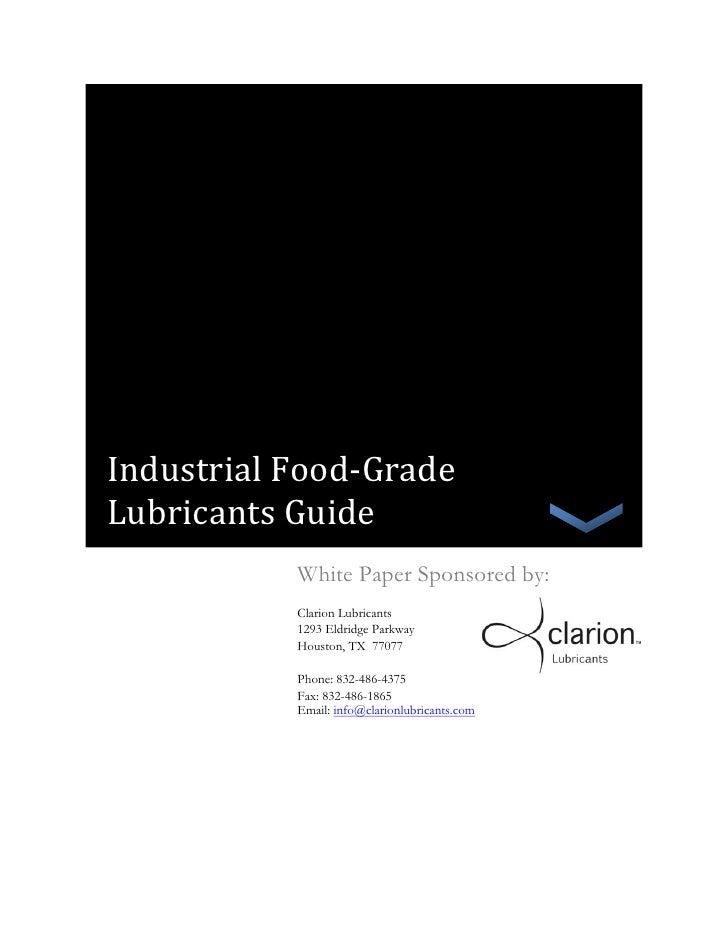 Industrial food grade lubricants guide