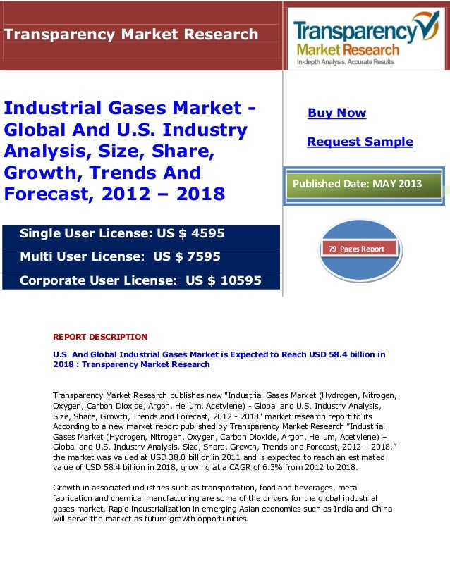 REPORT DESCRIPTION U.S And Global Industrial Gases Market is Expected to Reach USD 58.4 billion in 2018 : Transparency Mar...