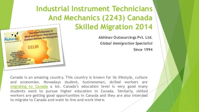 Industrial instrument technicians and mechanics (2243) canada skilled migration 2014