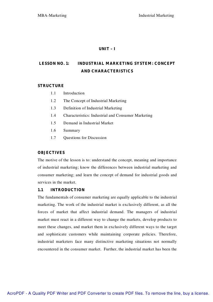 MBA-Marketing                                             Industrial Marketing                                            ...