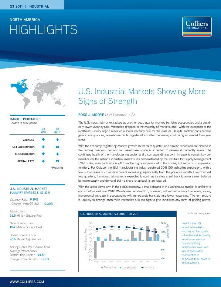 Q3 2011 | IndustrIalNORTH AMERICAHIGHLIGHTS                                               U.S. Industrial Markets Showing ...