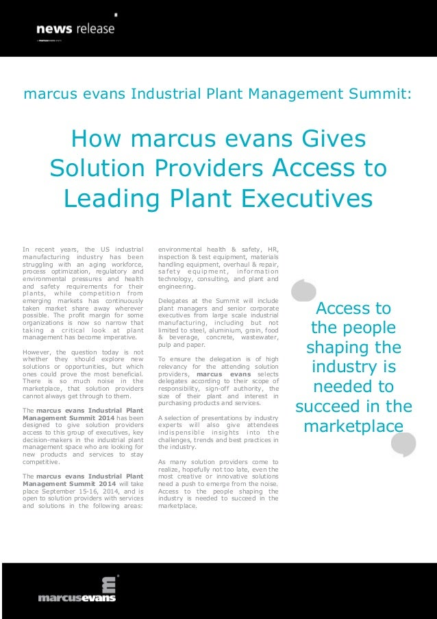 marcus evans Industrial Plant Management Summit:  How marcus evans Gives Solution Providers Access to  Leading Plant Execu...