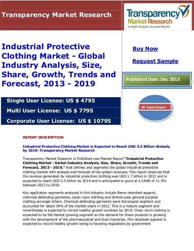 Industrial Protective Clothing Market Will Reach 3.5 Billion By 2019 : Transparency Market Research