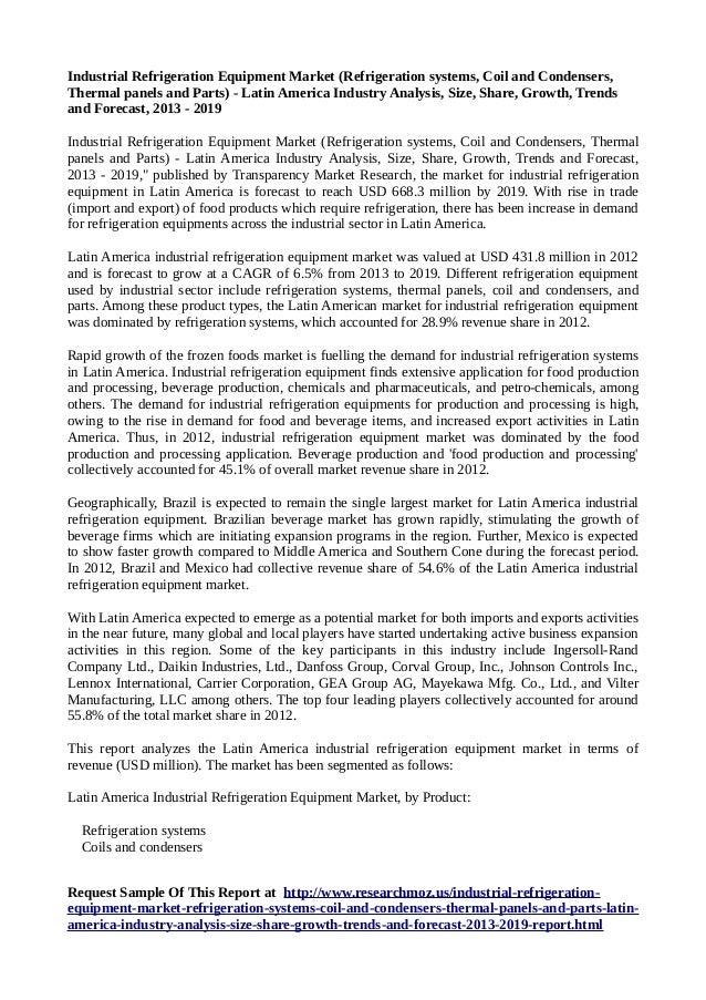 Latin America Industrial Refrigeration Equipment Market Research Report 2013-2019