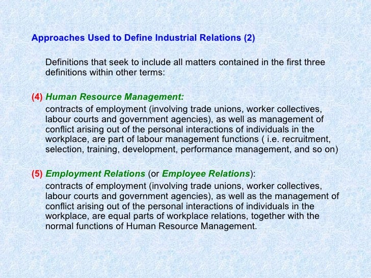 empoyee & industrial relations essay An industrial relations is a policy that approaches the employees, and acts as a reference for the management, where the actions that underlies the industrial relations is set by a formal authority in the organisation (brewster, gill, richbell, 1981).