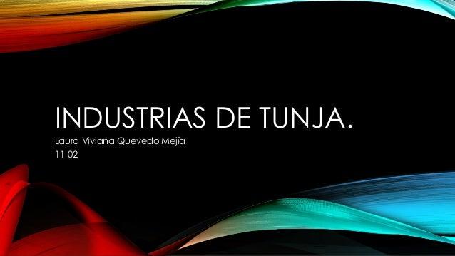 INDUSTRIAS DE TUNJA. Laura Viviana Quevedo Mejía 11-02