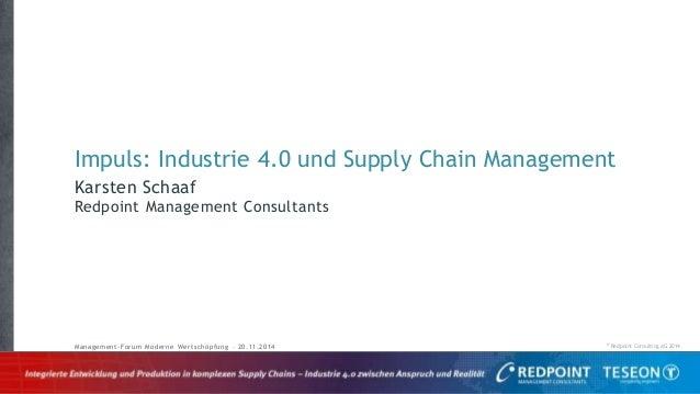// © Redpoint Consulting AG 2014 Karsten Schaaf Redpoint Management Consultants Management-Forum Moderne Wertschöpfung – 2...
