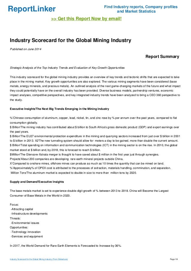 Industry Scorecard for the Global Mining Industry