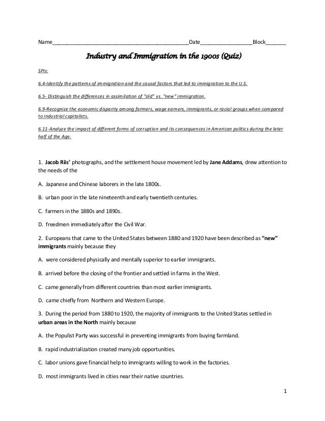 1Name_______________________________________________Date__________________Block_______Industry and Immigration in the 1900...