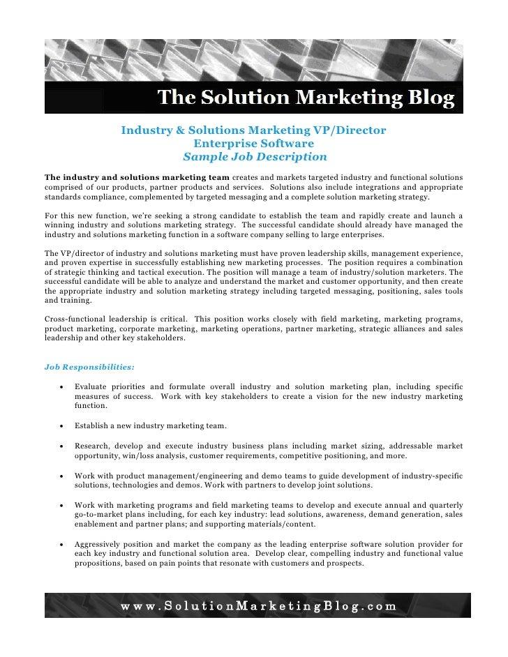 Industry and Solution Marketing Job Description