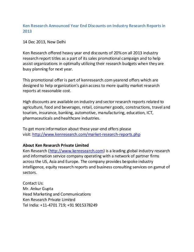 Ken Research Announced Year End Discounts on Industry Research Reports in 2013