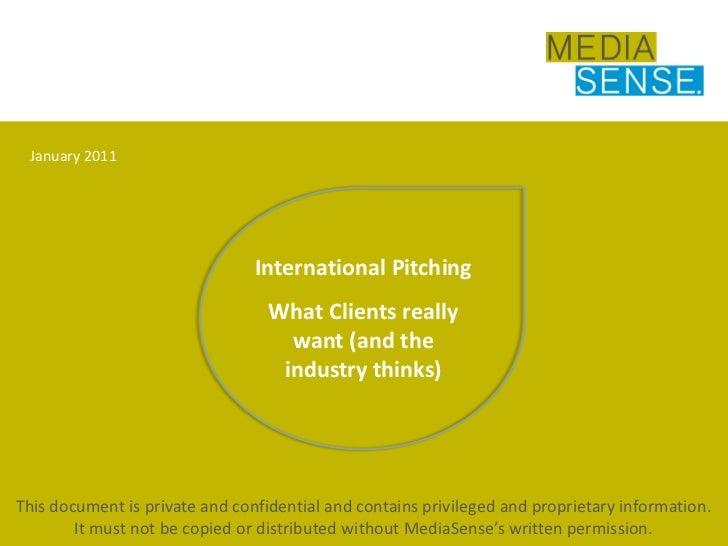 Industry survey on international pitching