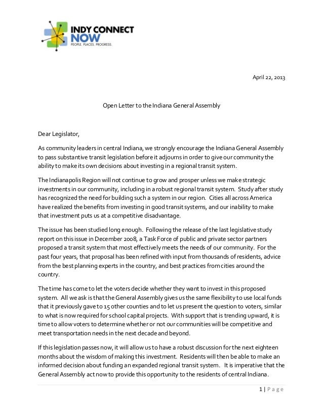 1 | P a g eApril 22, 2013Open Letter to the Indiana General AssemblyDear Legislator,As community leaders in central Indian...