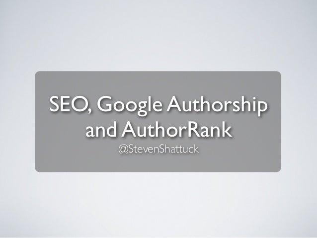 SEO, Google Authorship and AuthorRank
