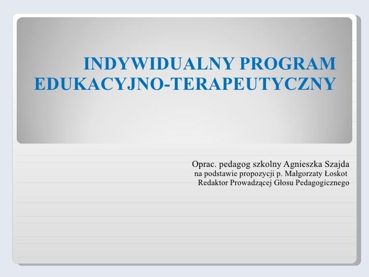 Indywidualny program edukacyjno terapeutyczny