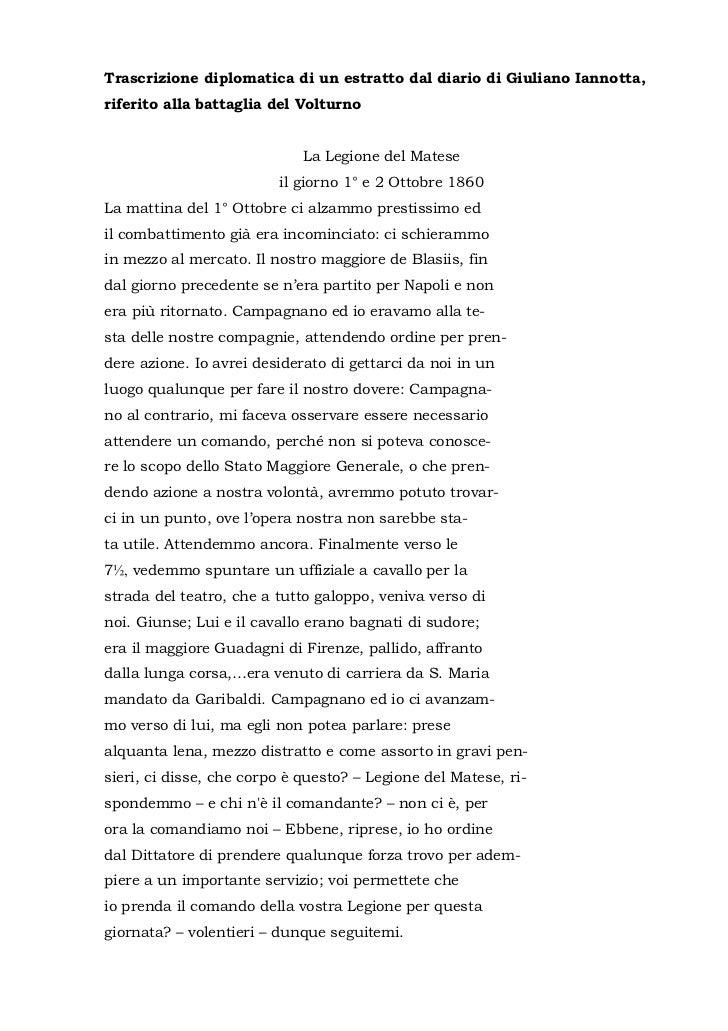 Trascrizione diplomatica di un estratto dal diario di Giuliano Iannotta,riferito alla battaglia del Volturno              ...