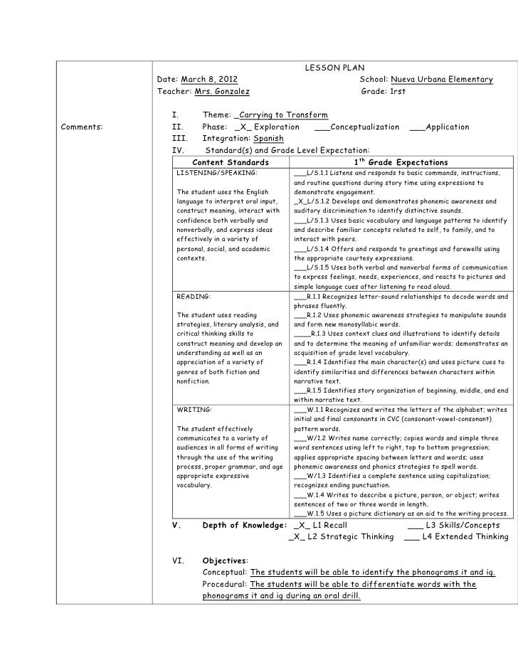 LESSON PLAN            Date: March 8, 2012                                   School: Nueva Urbana Elementary            Te...