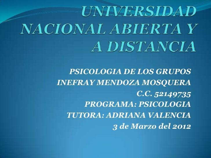 PSICOLOGIA DE LOS GRUPOSINEFRAY MENDOZA MOSQUERA                 C.C. 52149735      PROGRAMA: PSICOLOGIA  TUTORA: ADRIANA ...