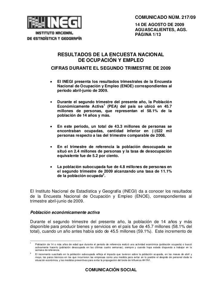 COMUNICADO NÚM. 217/09                                                                                          14 DE AGOS...