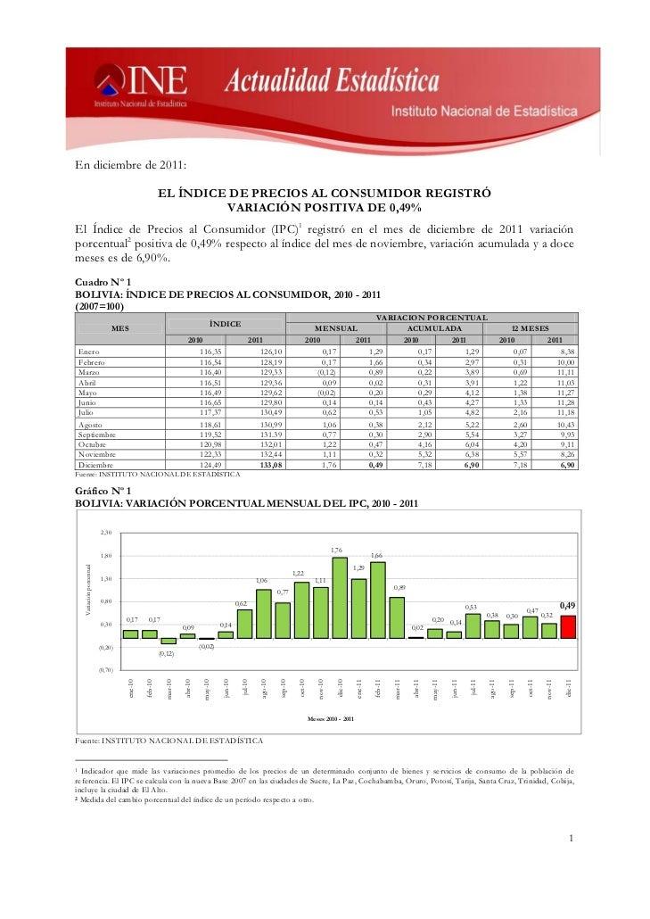 En diciembre de 2011:                                                    EL ÍNDICE DE PRECIOS AL CONSUMIDOR REGISTRÓ      ...