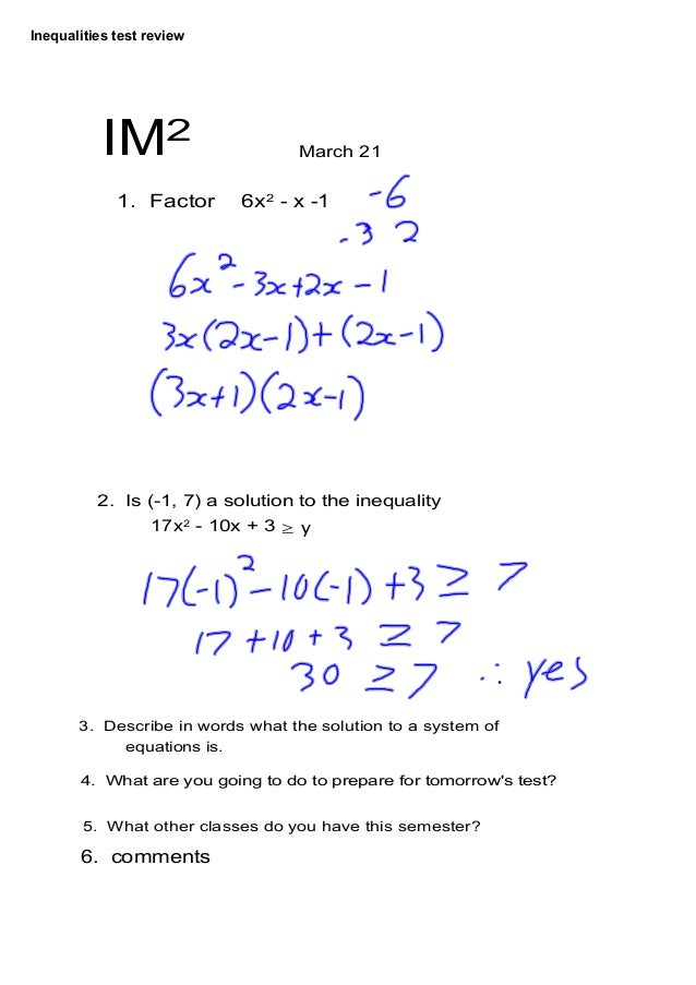 Inequalities test review