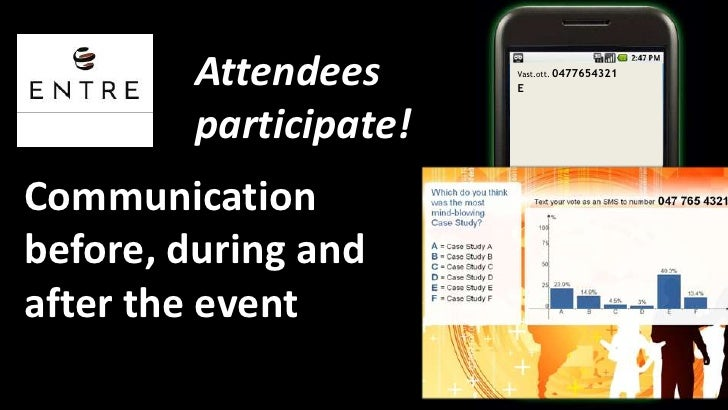Attendeesparticipate!<br />Vast.ott. 0477654321<br />E<br />Communication before, during and after the event<br />