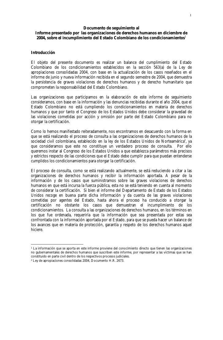 1                              Documento de seguimiento al    Informe presentado por las organizaciones de derechos humano...
