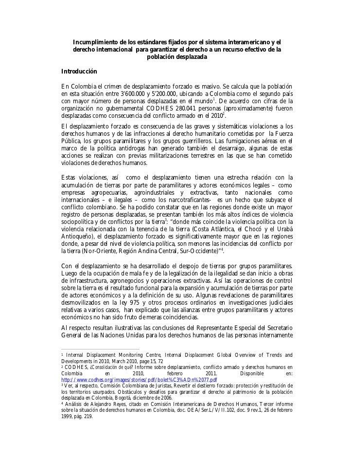 Incumplimiento de los estándares fijados por el sistema interamericano y el derecho internacional para garantizar el derecho a un recurso efectivo de la población desplazada