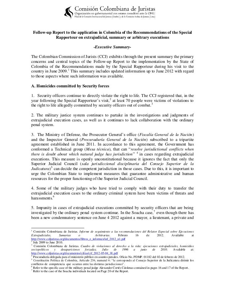 Follow-up Report to the application in Colombia of the Recommendations of the Special Rapporteur on extrajudicial, summary or arbitrary executions - Executive Summary